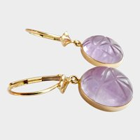 14K Gold Carved Amethyst Scarab Dangle Drop Earrings