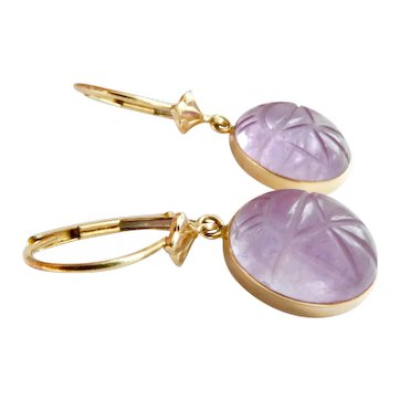 14K Gold Carved Amethyst Scarab Dangle Drop Earrings