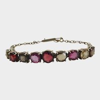 Terrific 1900's Harlequin Multi-gemstone Silver Bracelet
