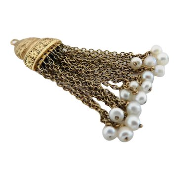 Beautiful 14K Gold Antique Engraved Tassel Pearl Fob or Pendant