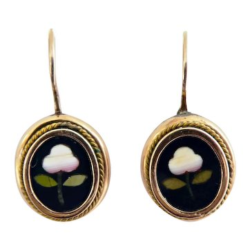 Lovely Antique 9ct 9K Pietra Dura Drop Earrings