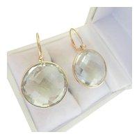 14K Gold Large Multi-faceted Prasiolite Drop Earrings