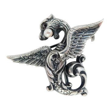 Terrific Antique Silver Mythological Creature Watch Pin with Garnet, Pearl