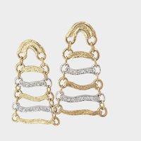 18K Bi-Colour Gold Diamond Dangle Earrings