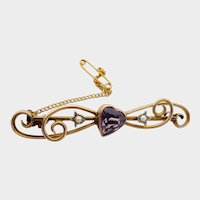 Lovely Large Victorian 9CT 9K Amethyst Heart Seed Pearl Sweetheart Pin Brooch