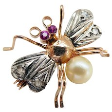 Antique Platinum 18K Gold Diamond Ruby Pearl Insect Bug Pin Brooch