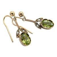 Sweet 9ct 9K Edwardian Peridot Seed Pearl Drop Earrings
