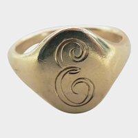 "!4K Yellow Gold ""E"" Vintage Signet Ring"