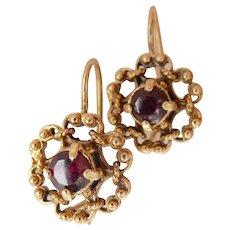 14K Gold Intricate Garnet Drop Earrings