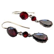 Antique 9CT 9K Rose Gold Georgian Garnet Dangle Earrings