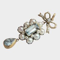 9Ct 9K Gold Antique Aquamarine and Pearl-set Bow Drop Pendant