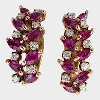 18K Gold Ruby and Diamond Earrings