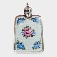 Unusual Guilloche Enamel Silver Perfume Flask