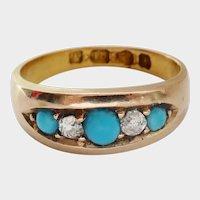 Beautiful Victorian 18K Gold Turquoise Diamond Band Ring~1882