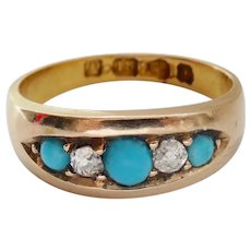 Beautiful Victorian 18K Gold Turquoise Diamond Band Ring~1882
