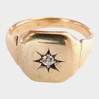 Victorian 9CT 9K Gold Diamond Starburst Ring