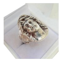Vintage Heavy Silver Classical Maiden Face Ring