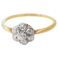 Sweet Edwardian 9ct 9k Petite Diamond Cluster Ring