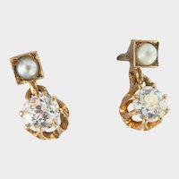 Stunning 18K Gold Antique 0.56 ct. Old European Cut Diamond Seed Pearl Dangle Earrings