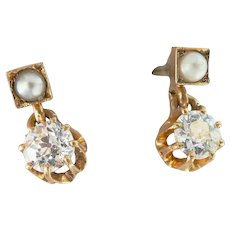 Stunning 18K Gold Antique 0.56 ct. Old European Cut Diamond Seed Pearl Dangle Earrings