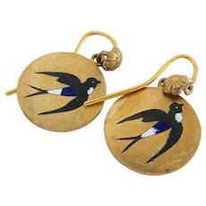 Lovely Victorian Enamel Gilt Metal Swallow Earrings