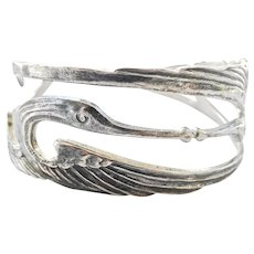 Terrific Handmade Detailed Crane Bird Silver Cuff Bracelet