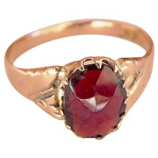 Victorian 9CT 9K Rose-Cut Garnet Ring