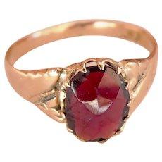 Victorian 9CT 9K Rose-Cut Garnet Ring