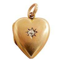 Beautiful 9ct 9K Rose Gold Edwardian Heart Diamond Locket Pendant~1904