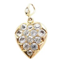 Lovely 15ct 15k Gold White Sapphire Heart Locket Pendant