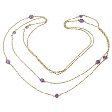 """Terrific Antique 14K Gold Amethyst 72"""" Muff/Guard Chain Necklace"""