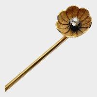 Antique 14K Gold Diamond Flower Stickpin
