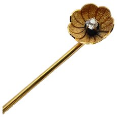 Antique 14K Gold Diamond Flower Stickpin