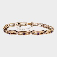 Antique 9ct 9k Rose Gold Amethyst Link Bracelet