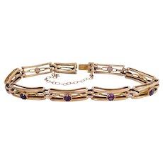 Antique 9ct 9k Rose Gold Amethyst Link Bracelet