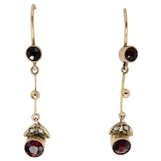 Lovely 9ct 9k Edwardian Garnet Pearl Dangle Earrings