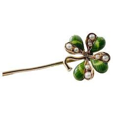 Antique 14K Gold Enamel Pearl Lucky Clover Pin