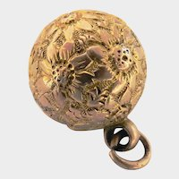 Victorian 9ct 9k Gold Engraved Ball Pendant or Charm Orb