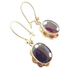 Striking 9ct 9k Gold Natural Garnet Dangle Vintage Earrings
