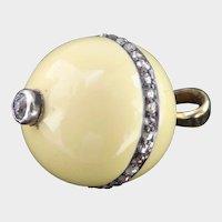 18K Gold Silver Enamel Diamond Ball Pendant or Charm