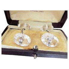 Terrific Art Deco Rock Crystal Silver Cufflinks