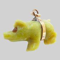 Sweet 9ct 9k Antique Connemara Marble Pig Charm or Pendant