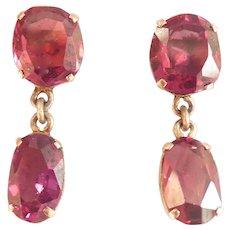 Beautiful 9k 9ct Vintage Double Garnet Drop Earrings
