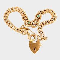 Victorian 9ct 9k Rose Gold Turquoise Pearl Heart Padlock Bracelet