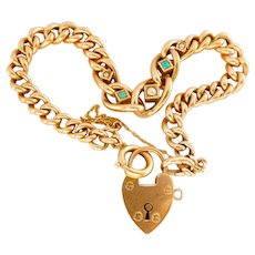 Victorian 9ct 9k Rose Gold Turquoise Pearl Heart Padlock Bracelet