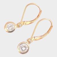 ~14K Gold 0.65 ct. Diamond Dangle Earrings~