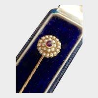 Victorian 15K Gold Ruby Seed Pearl Stickpin
