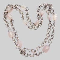 """Vintage Rose Quartz  835 Silver 27"""" Chain Necklace"""