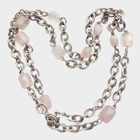 "Vintage Rose Quartz  835 Silver 27"" Chain Necklace"