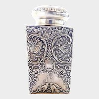 Art Nouveau Heavily Detailed Silver Tea Caddy